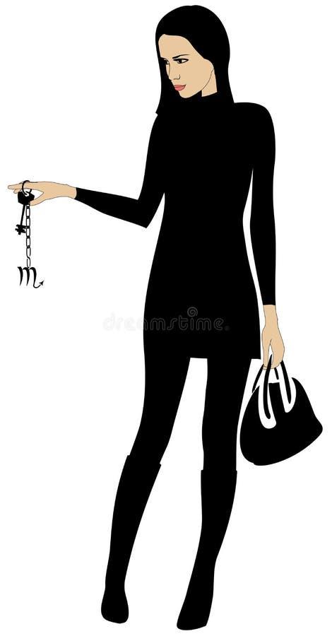 Girl with keys stock illustration