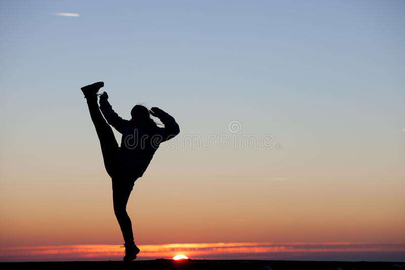 Download Girl Kicks His Leg In The Air Stock Image - Image of kick, fight: 36686241