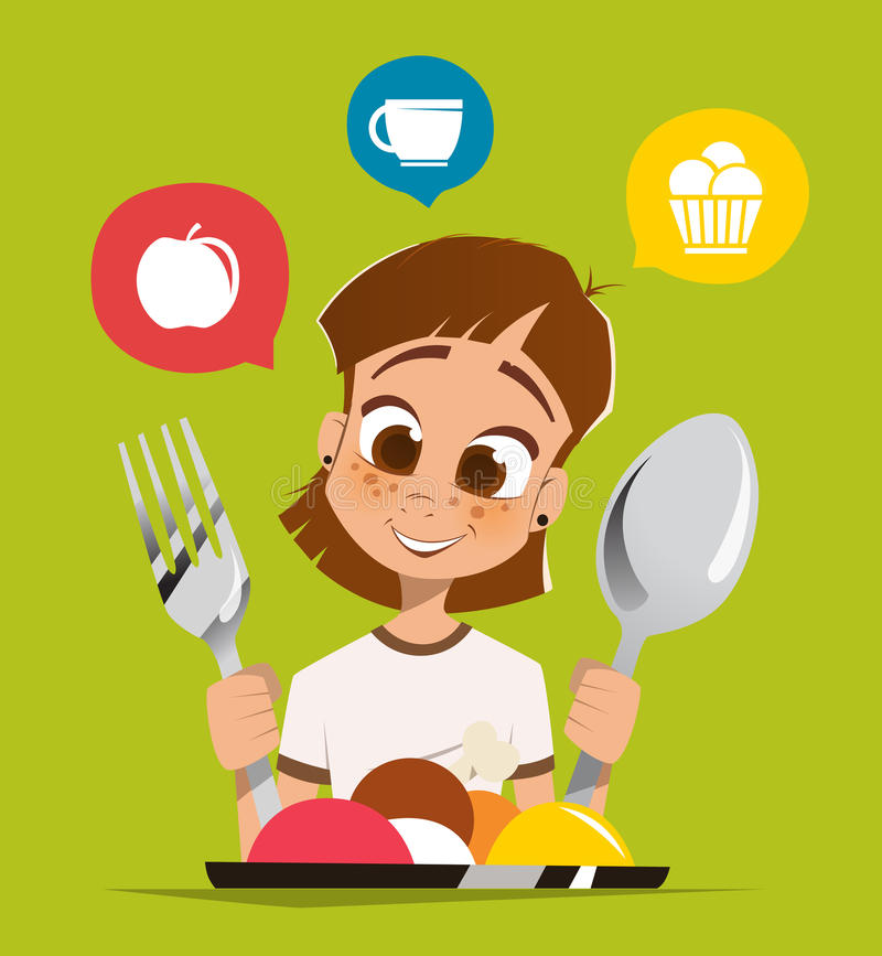 Girl kid child holding spoon and fork eating meal dish. Happy smile girl kid child holding spoon and fork eating meal dish stock illustration