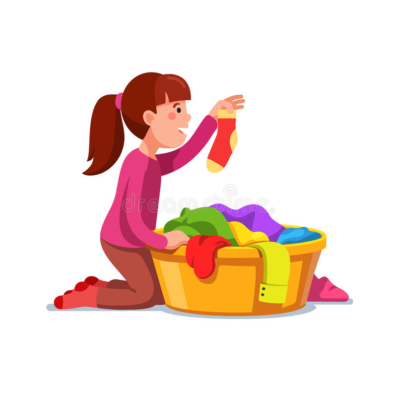 Girl kid doing housework chores sorting laundry. Little girl kid doing housework chores sorting dirty laundry in clothes basin. Flat style character vector royalty free illustration
