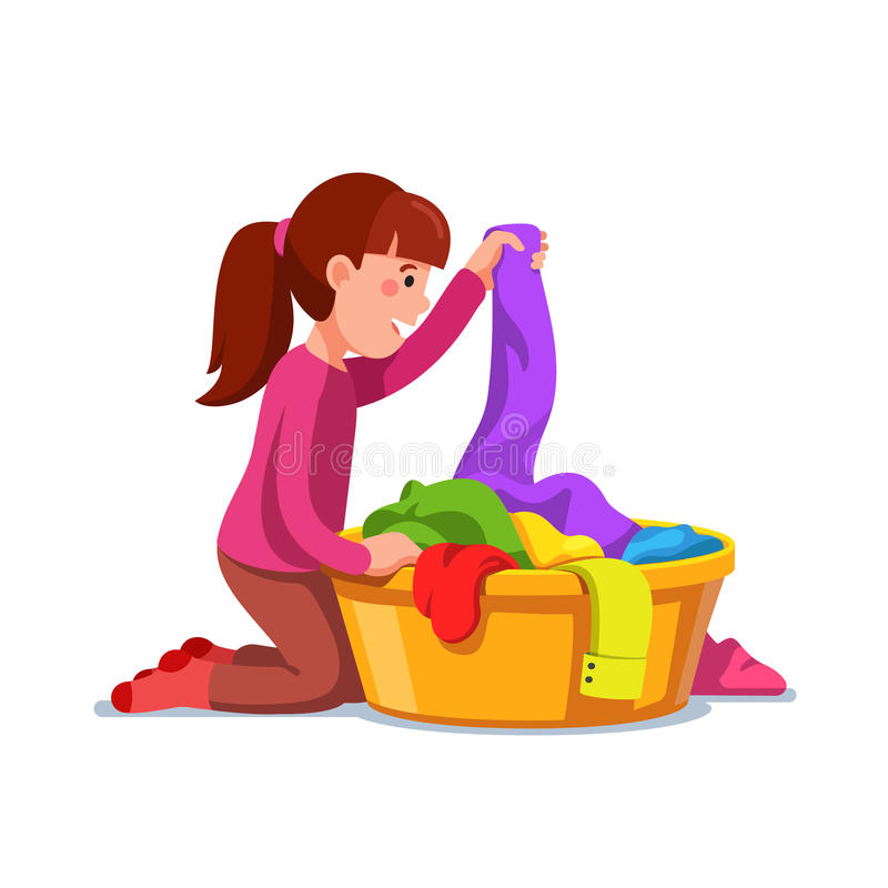 Girl kid doing housework chores sorting laundry. Little girl kid doing housework chores sorting dirty laundry in clothes basin. Flat style character vector stock illustration
