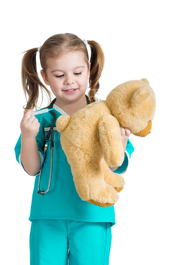 Download Girl Kid Playing A Doctor Isolated On White Stock Photo - Image: 28401024