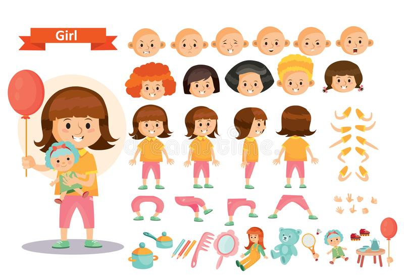 Girl Kid Playing Toys Vector Cartoon Child Character Constructor Icons Of Body Parts Face Emotions Or Gesture And Haircut Creation