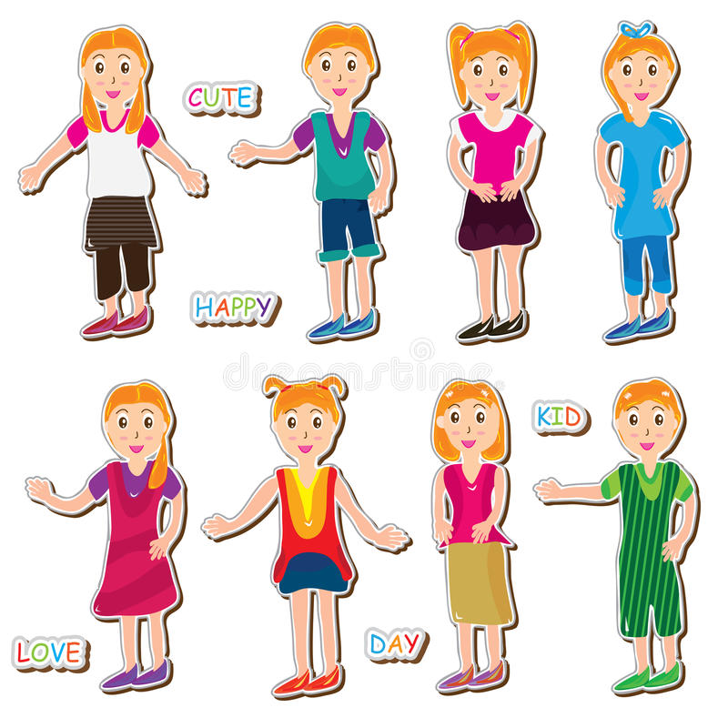 Download Girl Kid Pose Set_eps stock vector. Image of adorable - 24417299