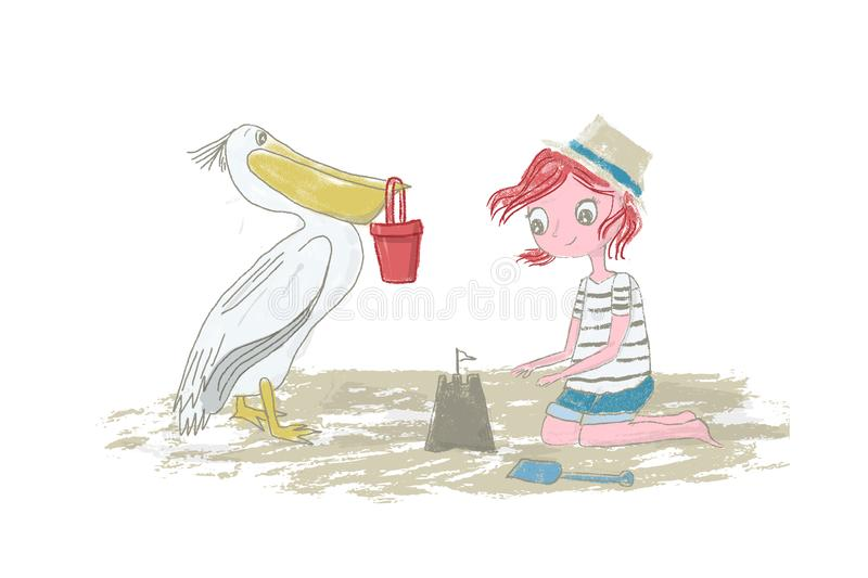 Girl kid with red hair playing on the beach with sand, sandcastle and pelican - Vector illustration hand drawn with pencil texture royalty free stock photography