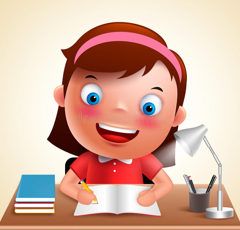 Girl kid vector character happy studying in desk doing school homework. While holding pencil and books. Vector illustration stock illustration