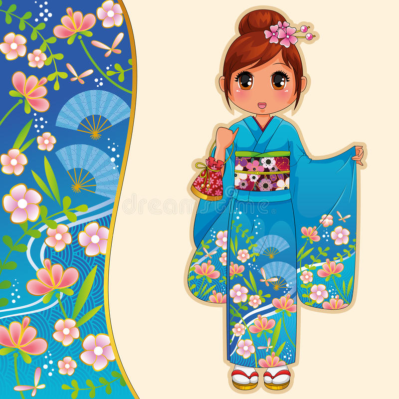 Download Girl in kimono stock vector. Image of anime, cheerful - 27620465