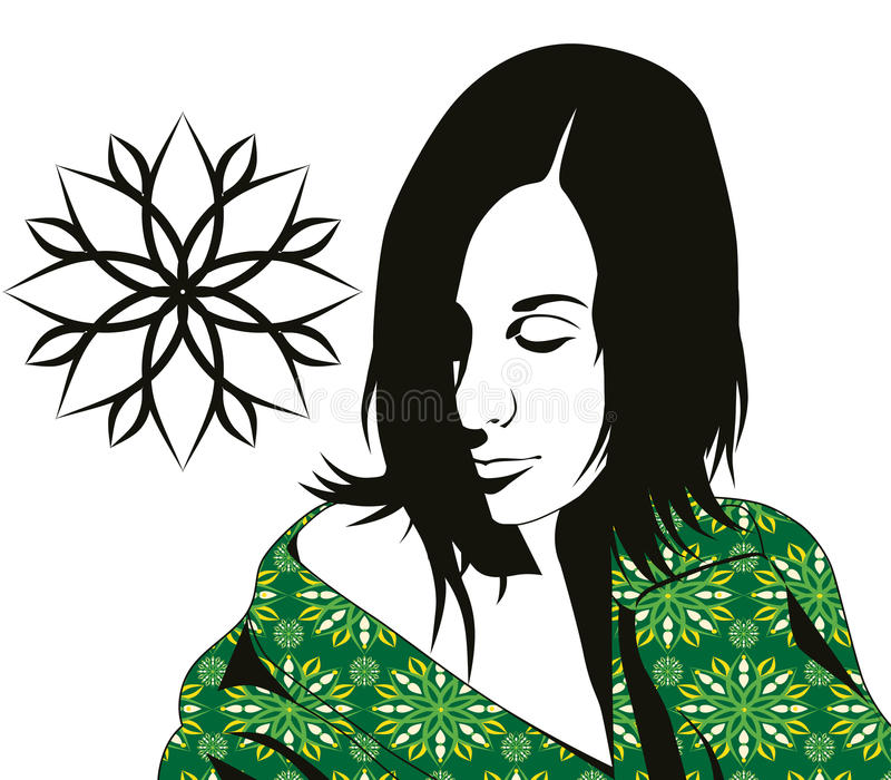 Girl in kimono stock photography