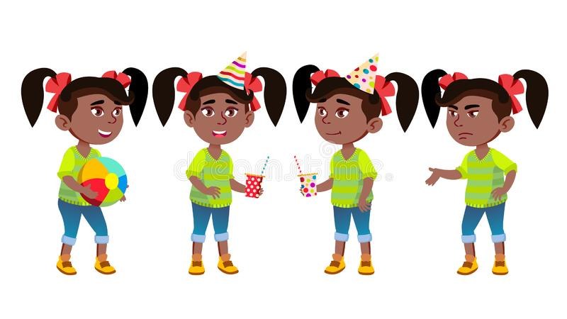 Girl Kindergarten Kid Poses Set Vector. Black. Afro American. Little Child. Having Fun On Carnival, Birthday Party. For. Advertisement, Greeting, Announcement vector illustration