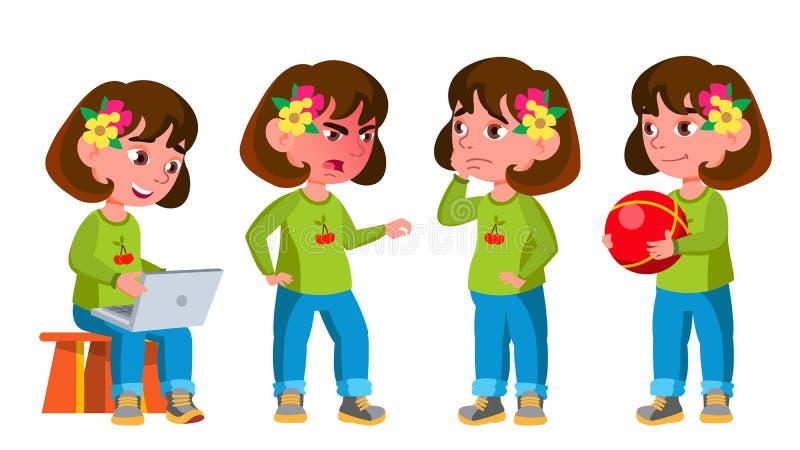 Girl Kindergarten Kid Poses Set Vector. Preschool, Childhood. Friend. For Postcard, Cover, Placard Design. Isolated royalty free illustration