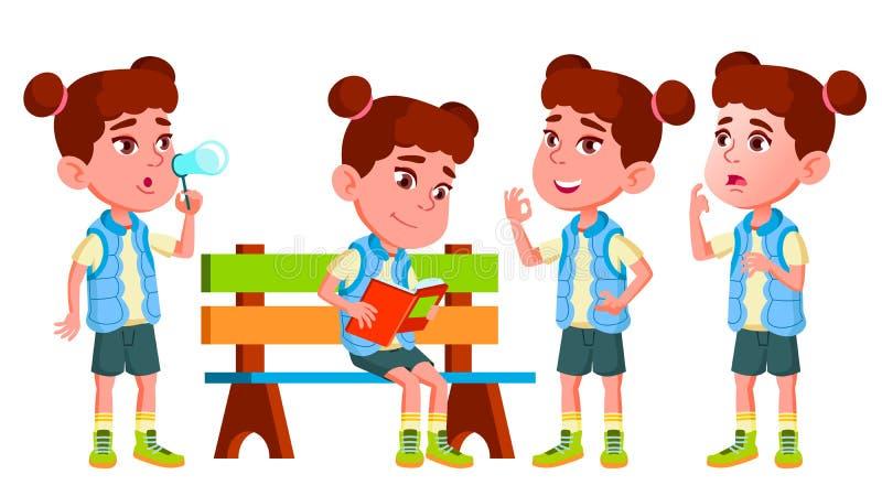 Girl Kindergarten Kid Poses Set Vector. Little Children. Happiness Enjoyment. For Web, Brochure, Poster Design. Isolated vector illustration
