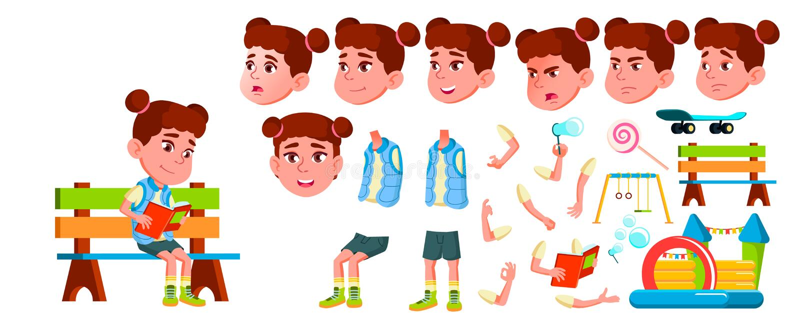 Girl Kindergarten Kid Vector. Animation Creation Set. Face Emotions, Gestures. Friendly Little Children. Cute, Comic stock illustration
