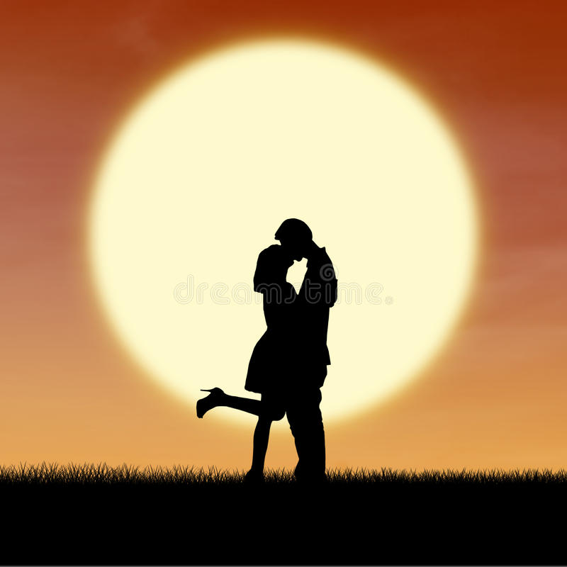 Girl Kiss Guy On Valentine Sunset Silhouette Royalty Free Stock Image