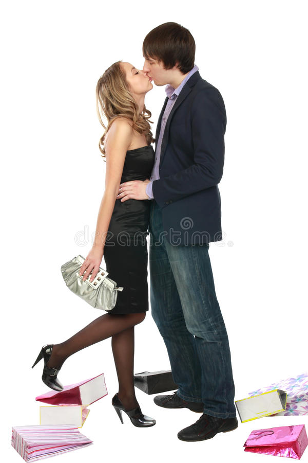 A Girl Kisses A Fellow. Royalty Free Stock Photography