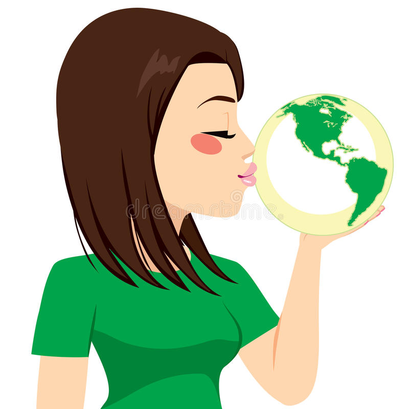 Girl Kissing Earth. Beautiful young girl kissing green earth globe for recycling concept vector illustration