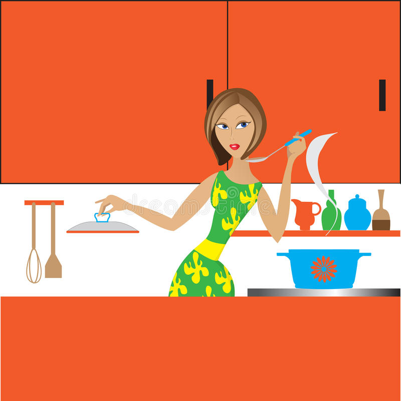 Download The girl in kitchen stock vector. Image of green, home - 23849270