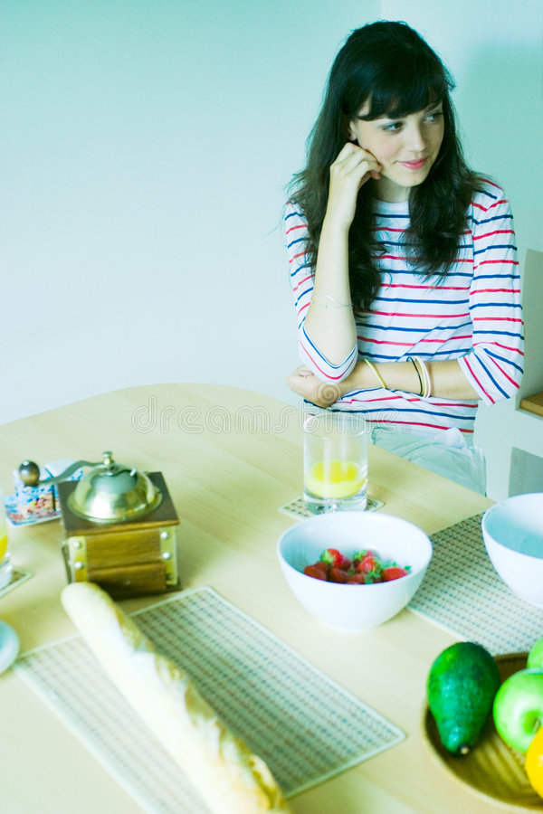 Download Girl in kitchen stock image. Image of teenage, think, sitting - 2712643