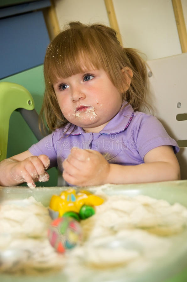Download Girl in kitchen mess stock image. Image of toddler, white - 25254869