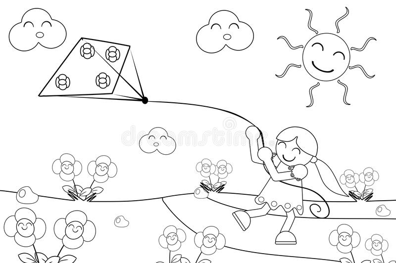 Girl with kite. Illustration representing an happy girl who runs playing with her kite. This image is created to be coloured by child as play royalty free illustration