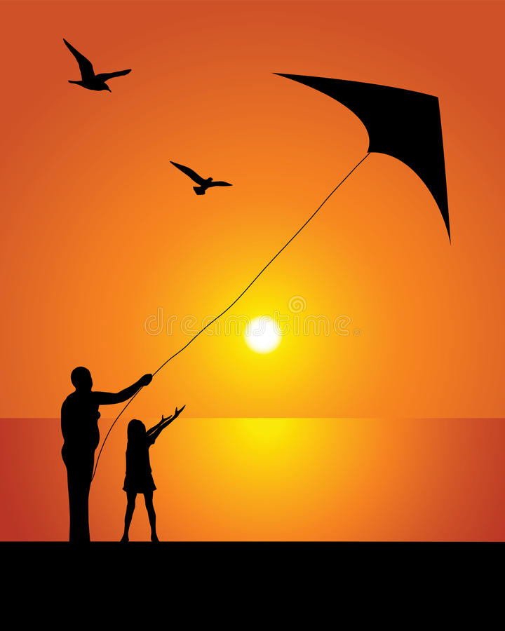 Download The girl and kite stock vector. Image of rest, family - 25294620