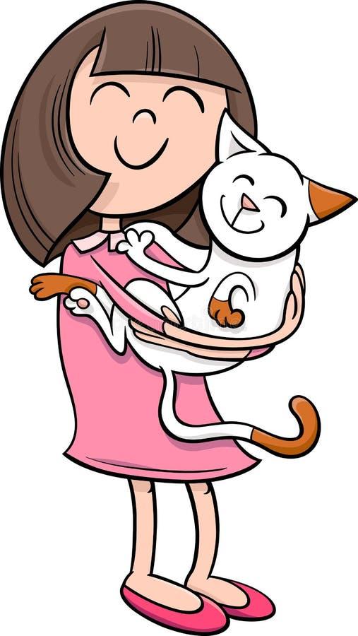 Girl with kitten cartoon vector illustration