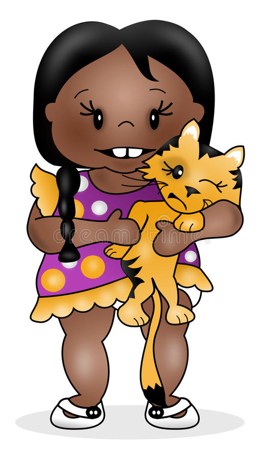 Download Girl and Kitty stock image. Image of child, illustration - 27954133