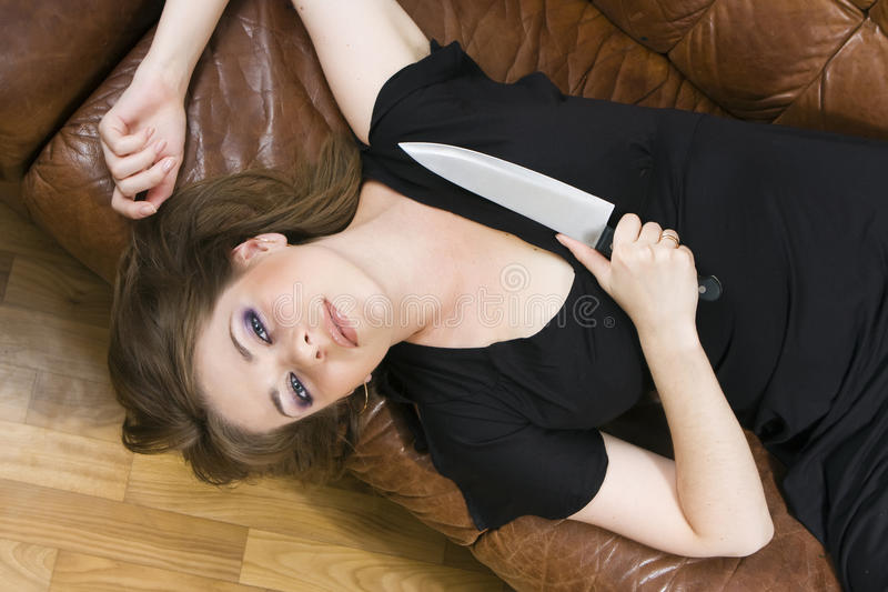 Download Girl with  knife stock image. Image of face, parquet - 10303805