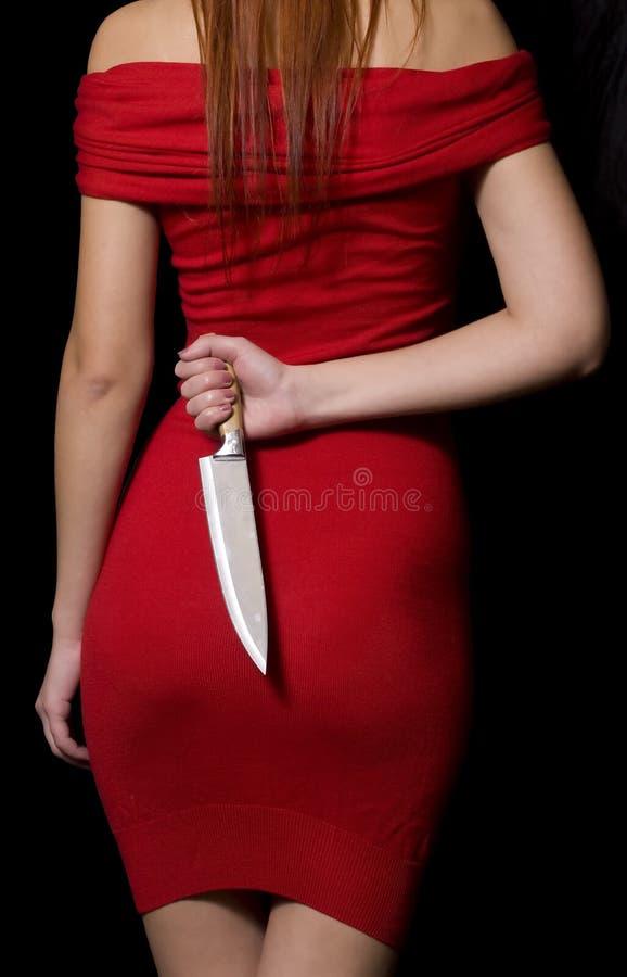 Girl With Knife stock photos