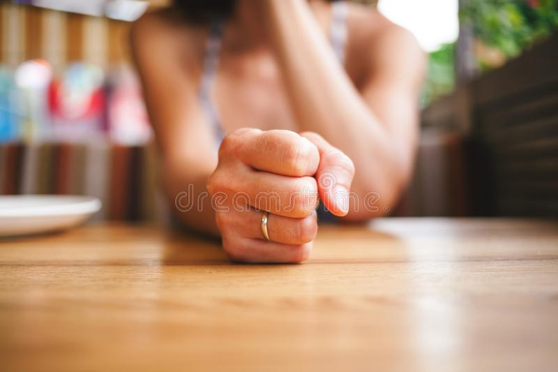 Fist on the table. stock images