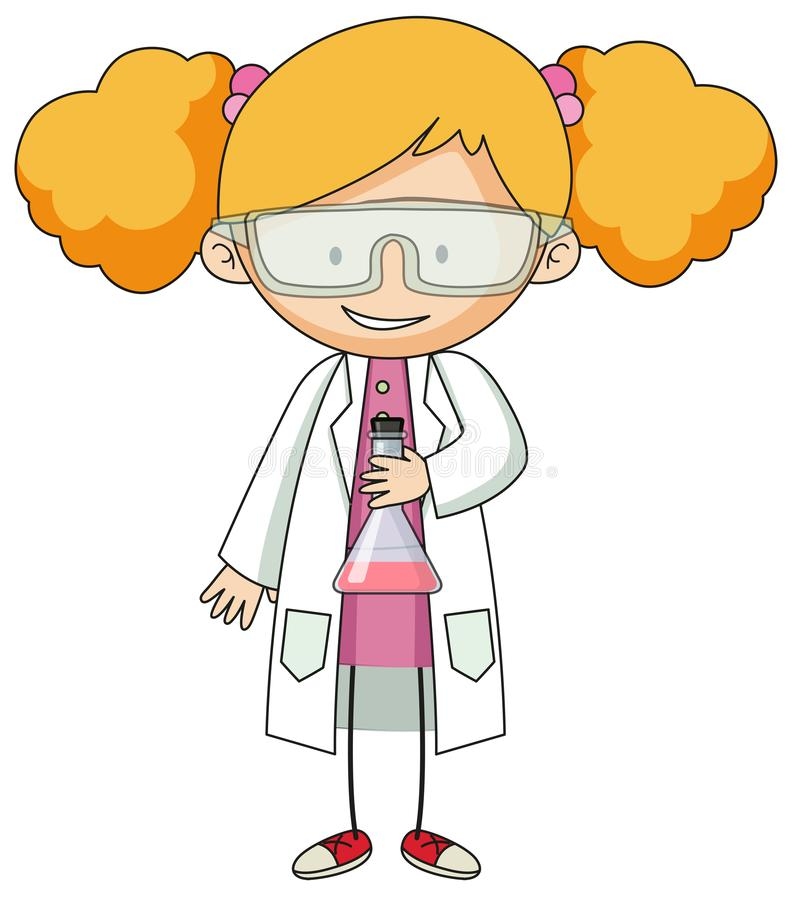 Girl in lab gown character stock illustration