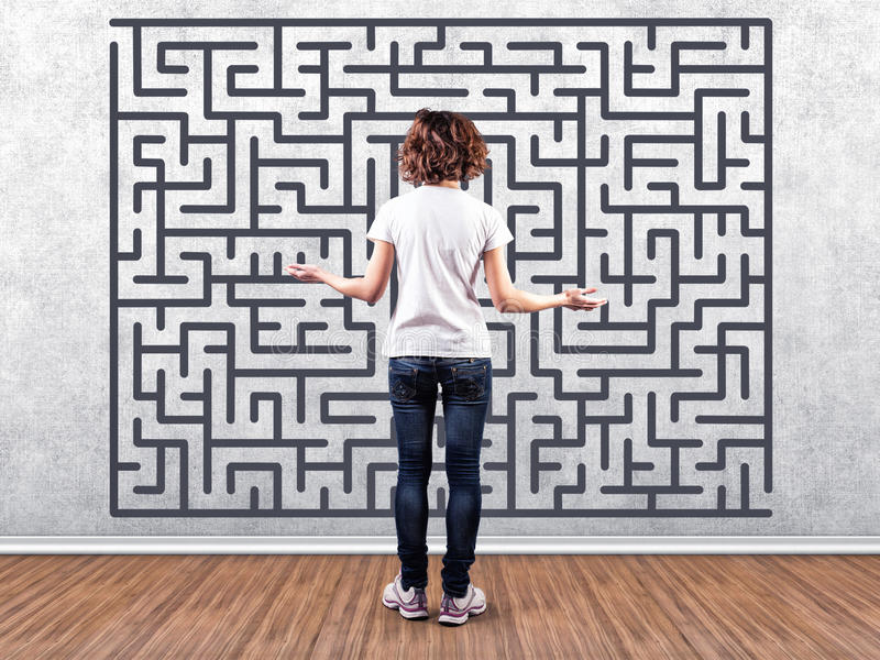 Girl before a labyrinth royalty free stock image