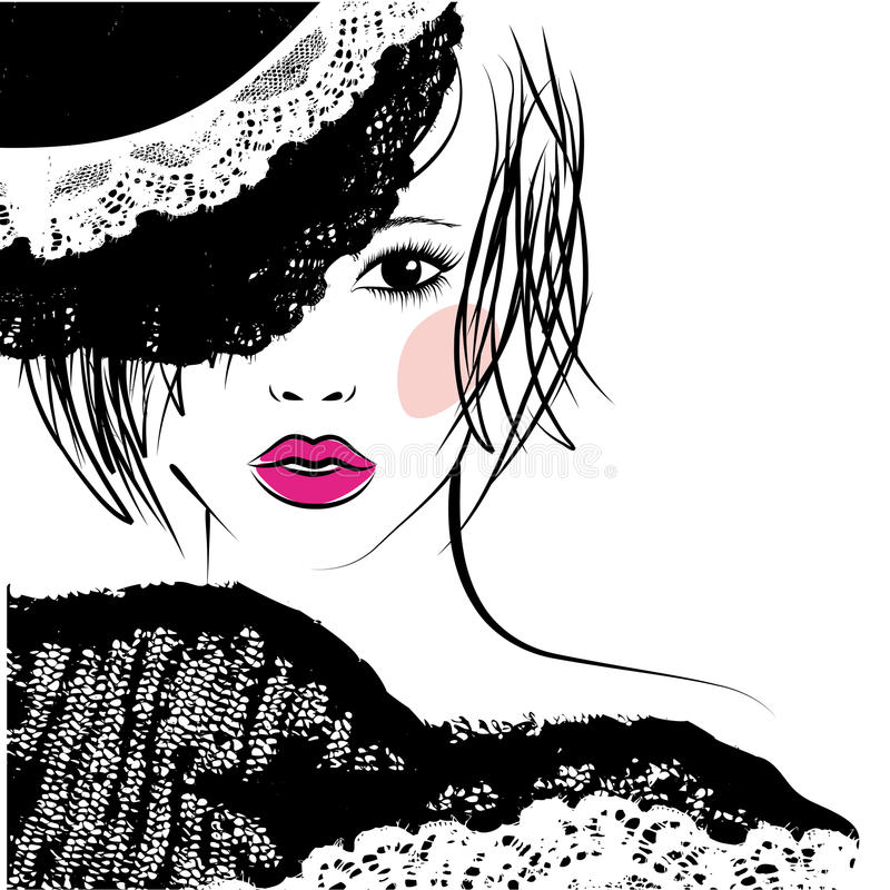 Girl with in a lace hat, fashion illustration. Girl with a fashionable hairstyle in a lace hat, fashion illustration royalty free illustration