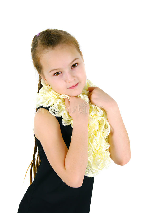 Download Girl in a lacy scarf stock photo. Image of good, graceful - 31225314