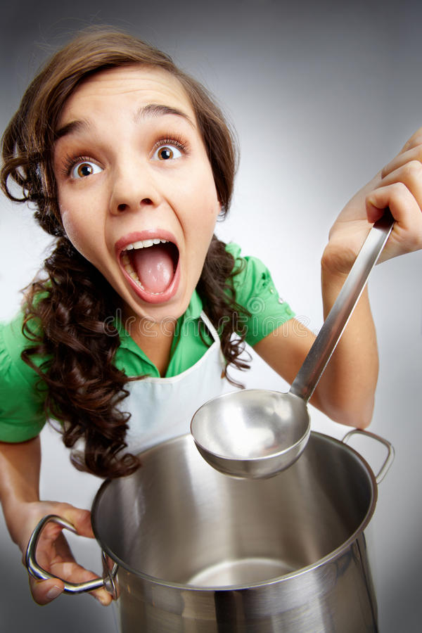 Download Girl with a ladle stock photo. Image of holding, isolated - 19550350
