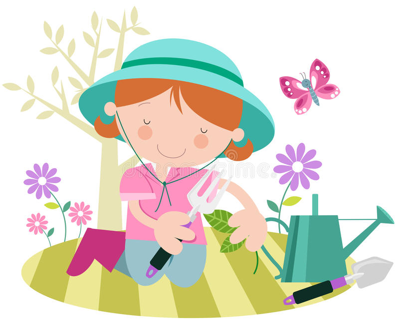 Download Girl Or Lady With Plants The Garden Stock Vector - Image: 28123520