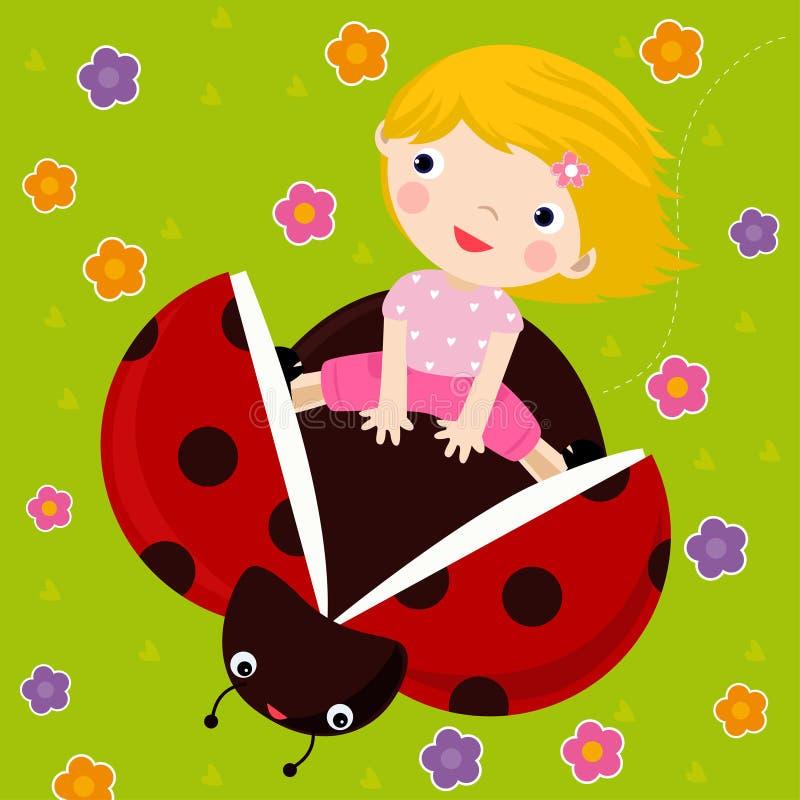 Girl And Ladybug Royalty Free Stock Photography