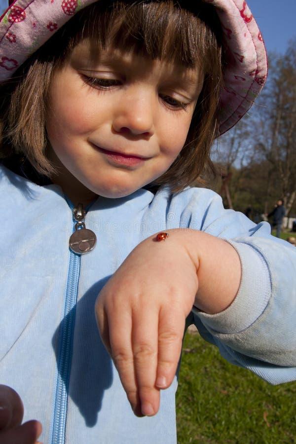 Download Girl with ladybug stock image. Image of childhood, girl - 22832527