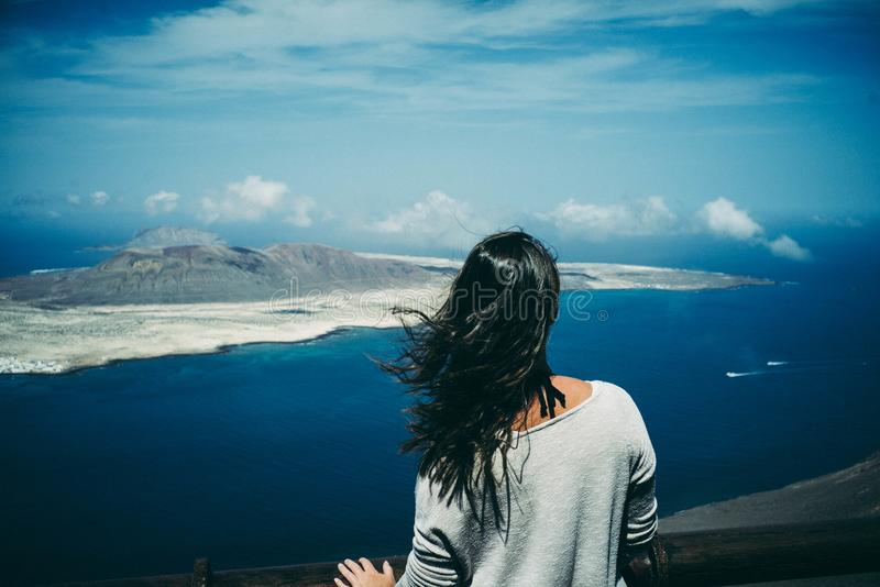 Girl, Landscape, Mountain royalty free stock images