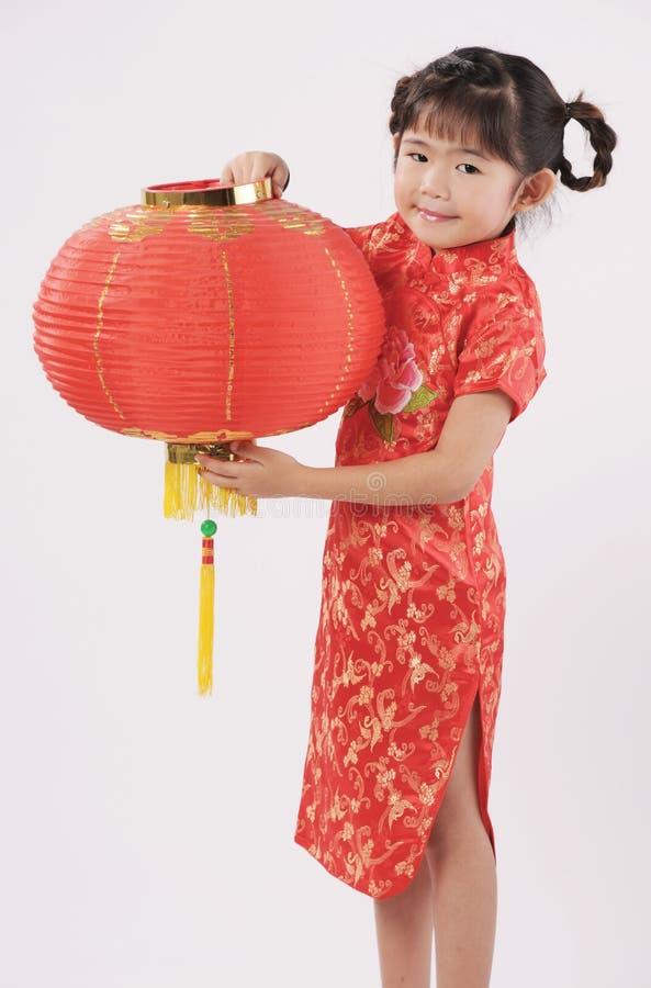 Girl with lantern stock photo