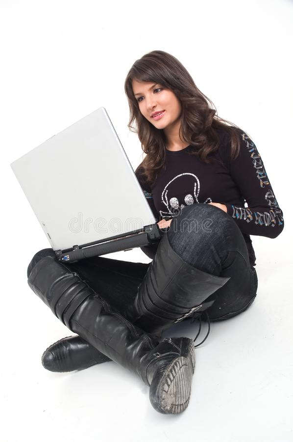 Girl with lap top royalty free stock photography