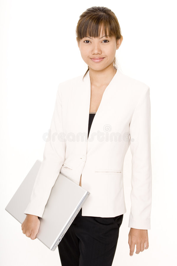 Girl With Laptop 1 royalty free stock photos