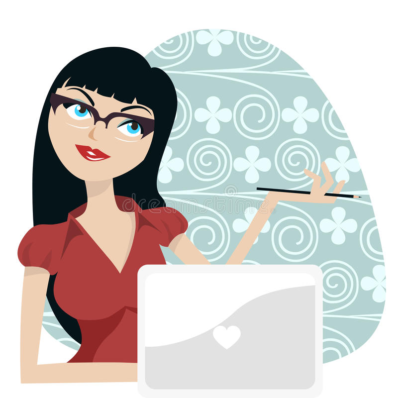 Girl with laptop royalty free illustration