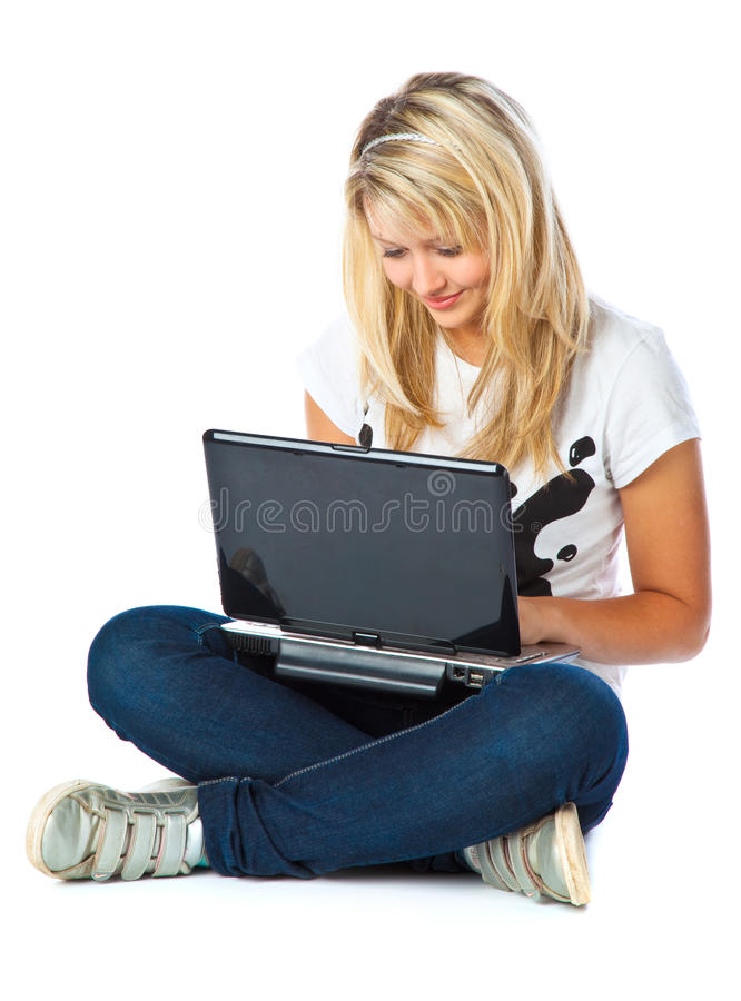 Download Girl with laptop stock image. Image of beautiful, smiling - 10891415
