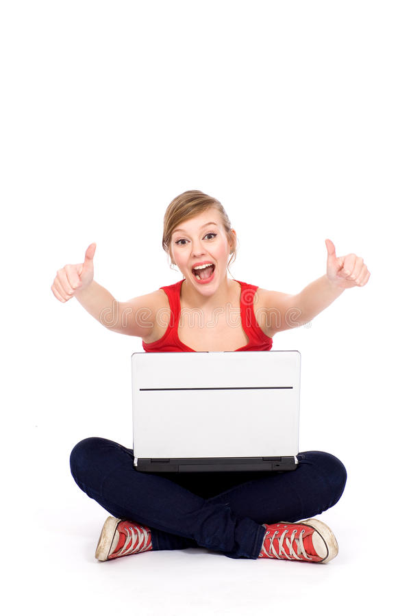 Download Girl with laptop stock photo. Image of adult, attractive - 19166696