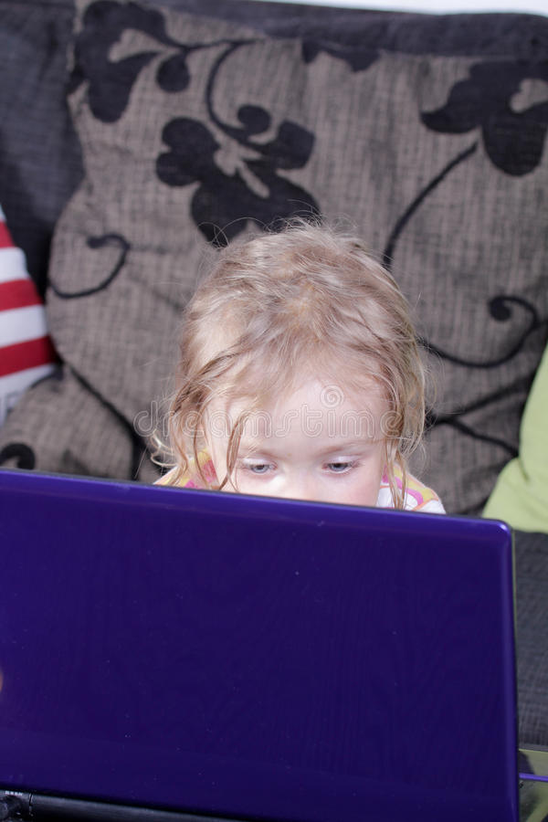 Download Girl with laptop stock image. Image of young, blond, computer - 26107013
