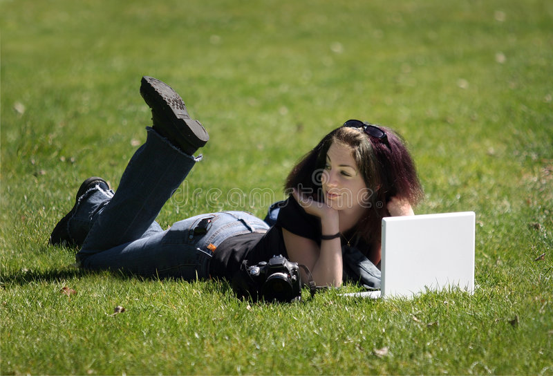 Download Girl with laptop stock image. Image of laptop, female, computer - 611907