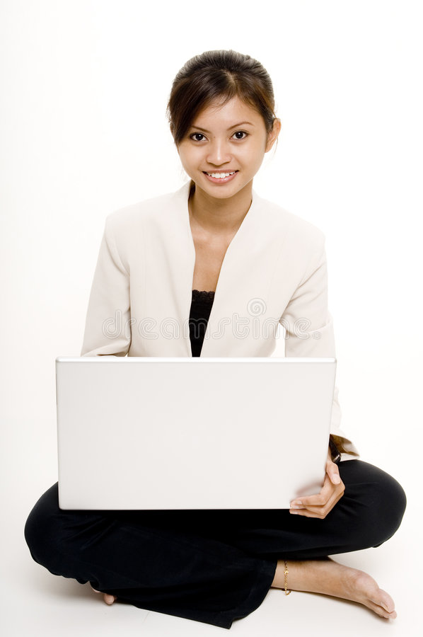 Girl With Laptop 7 royalty free stock photo