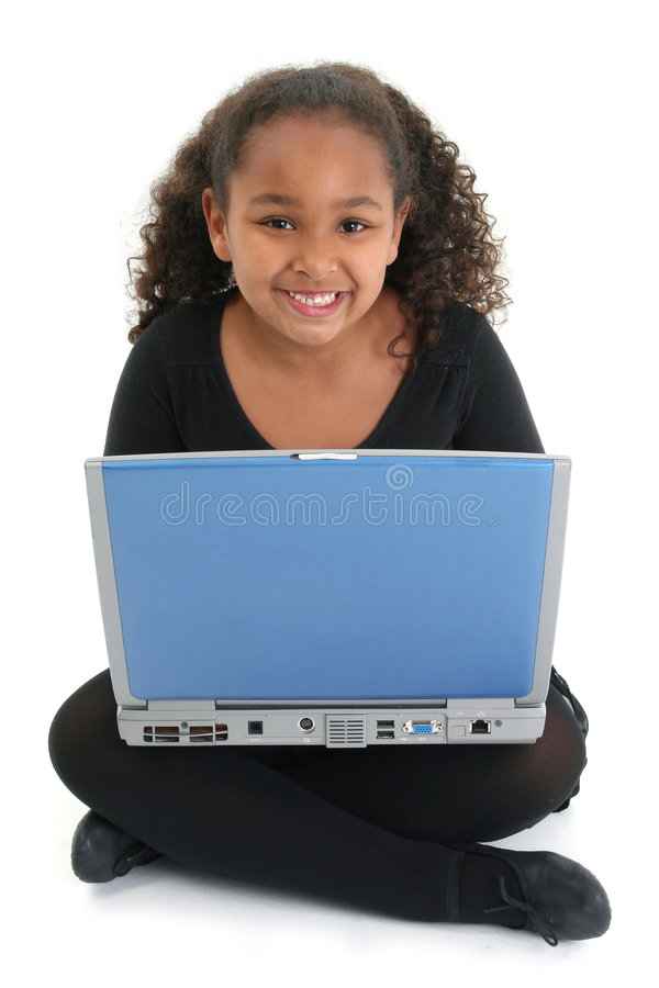 Girl with laptop. Cute multi racial girl with laptop isolated over white stock image