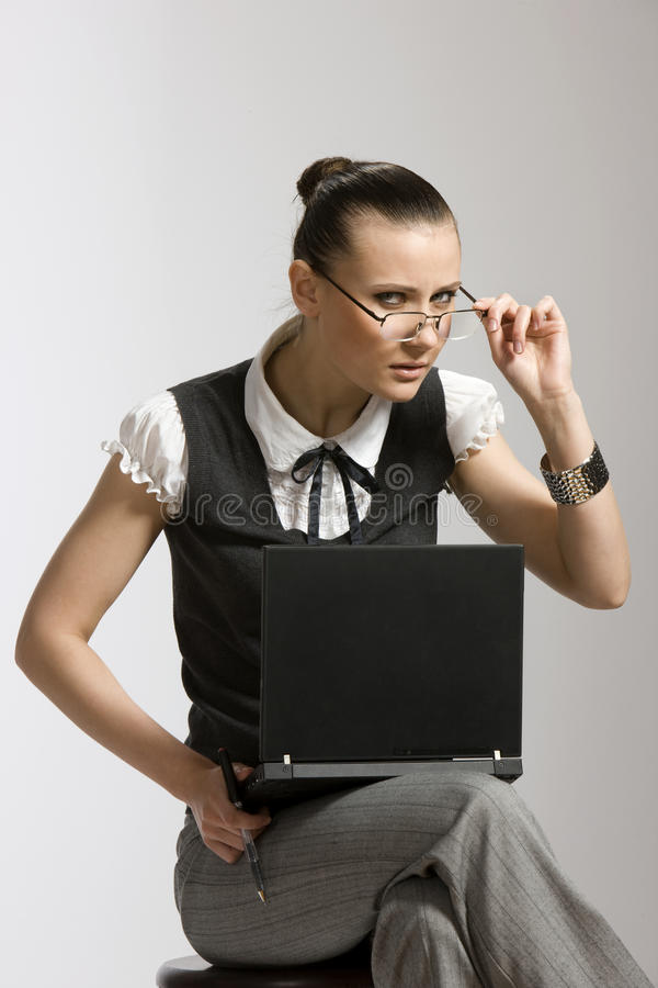 Download Girl with laptop stock photo. Image of girl, view, glasses - 9713138