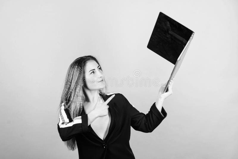 Girl with laptop computer. Software developer. Developer write code. Project manager. Job openings for junior developer stock images